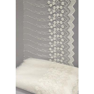 Полотно вуаль с вышивкой молочное 39 см (вид 3)