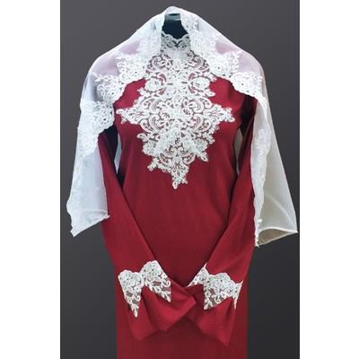 Платье Элит-2 с шарфом темно-красное