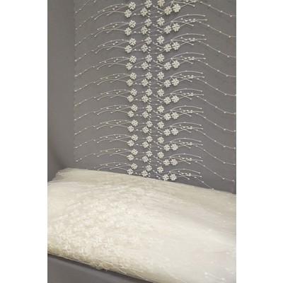 Полотно вуаль с вышивкой молочное 50 см (вид 1)