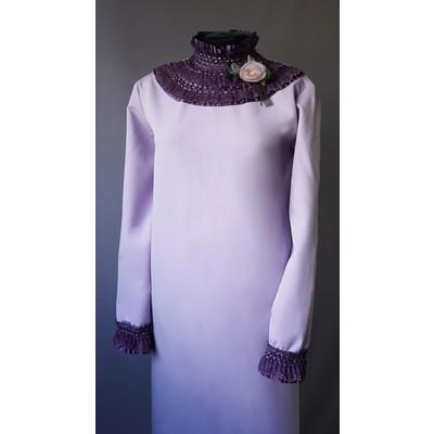 Платье ткань Мемори с жабо
