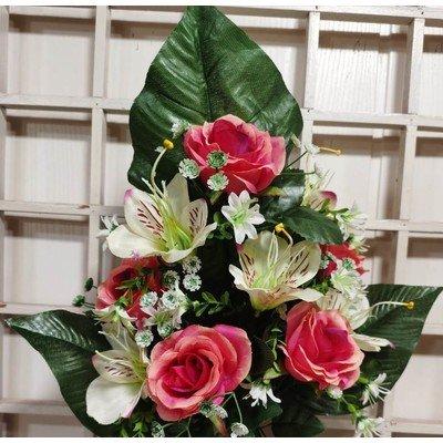 Б1681 Букет роз и лилий 10 голов 45 см