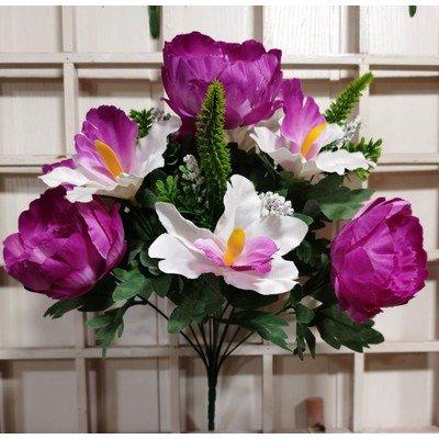 Б28 Букет пионов и орхидей 12 голов 41 см