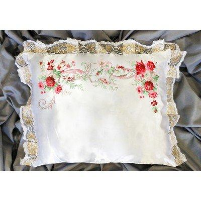 Подушка атлас с печатью с кружевом