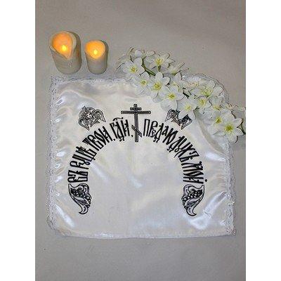 Чехол на подушку церковный шелк с кружевом
