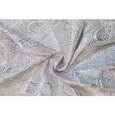 Парча Огурцы белый с серебром