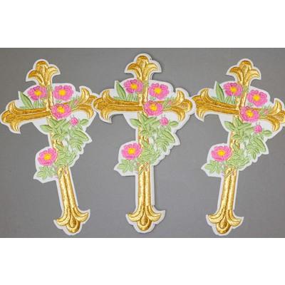 Термоаппликация Крест «Лукошко с пионами»