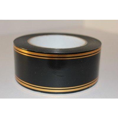 Лента полипропилен с золотой полосой 2-10 см (50 м)