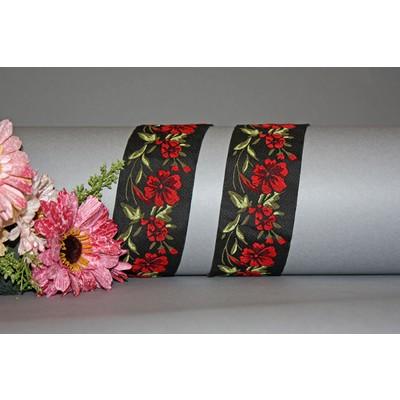 Тесьма черная с розами 5 см