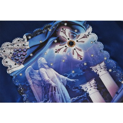 Обивка «Жемчуг» синий-серебро